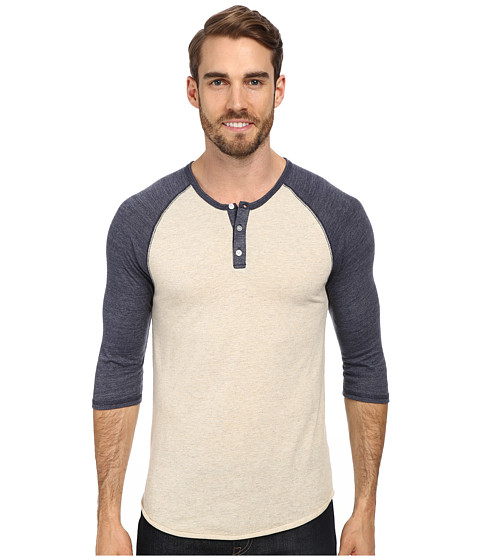 Alternative - 3/4 Raglan Henley (Eco Stone/Eco True Midnight) Men's Long Sleeve Pullover