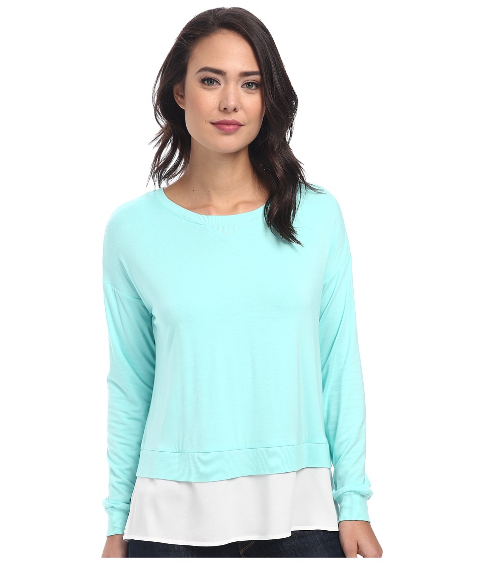 Calvin Klein - L/S Top w/ Crepe De Chine Bottom (Sea Grass) Women's Clothing