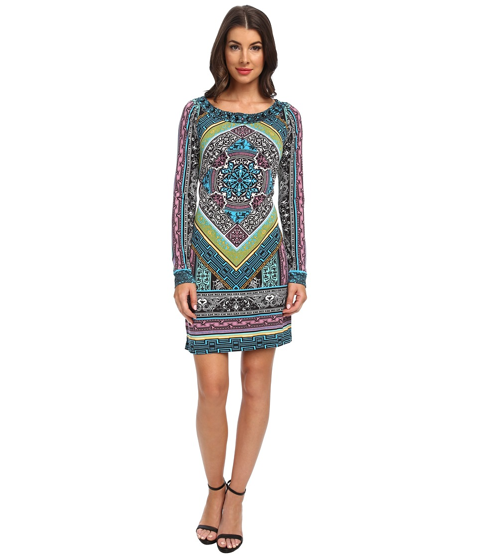 Hale Bob - Graphic Edge L/S Boatneck Dress (Blue) Women's Dress