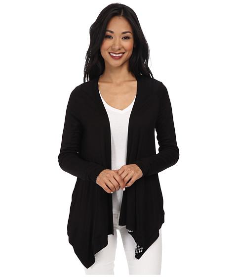 Calvin Klein - L/S Reversible Flyaway Top (Black Trellis) Women's Clothing