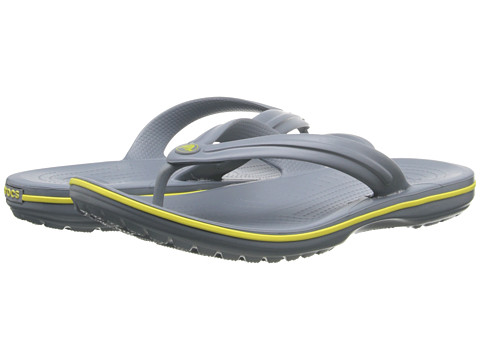 Crocs - Crocband Flip (Concrete/Chartreuse) Slide Shoes