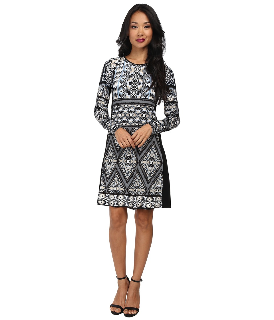 Hale Bob - Exotic Lines L/S Fit and Flare Dress (Black) Women's Dress
