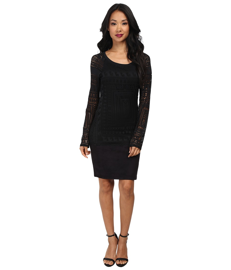 Hale Bob - Exotic Lines Jersey Stretch Jacquard Dress (Black) Women's Dress