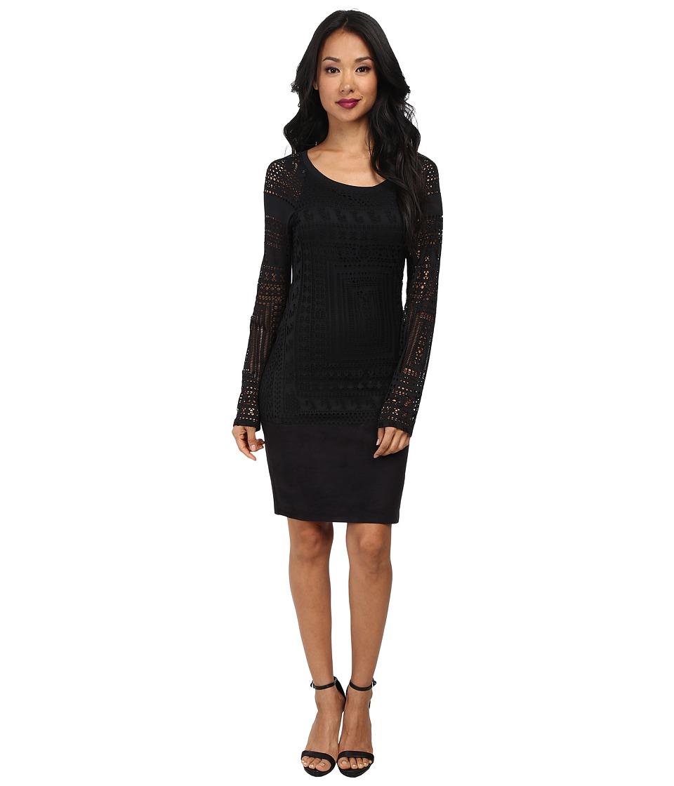 Hale Bob - Exotic Lines Jersey Stretch Jacquard Dress (Black) Women