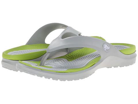 Crocs - MODI Flip (Light Grey/Volt Green) Slide Shoes