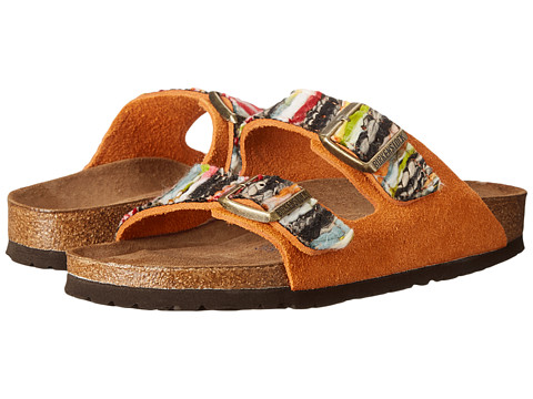 Birkenstock - Arizona Soft Footbed (Orange/Multi Suede/Textile) Women