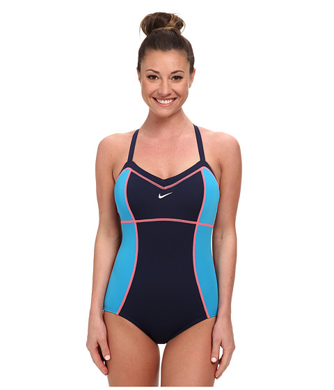 Nike - Color Block Adjustable Tank (Navy) Women's Swimsuits One Piece