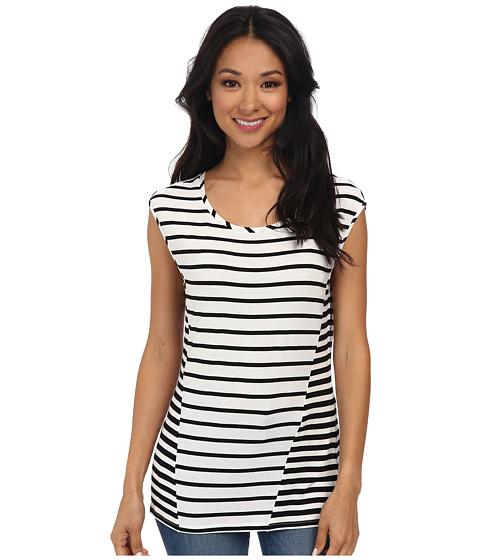 Calvin Klein - S/L Extended Shoulder Stripe Top (White/Black 3) Women's Sleeveless