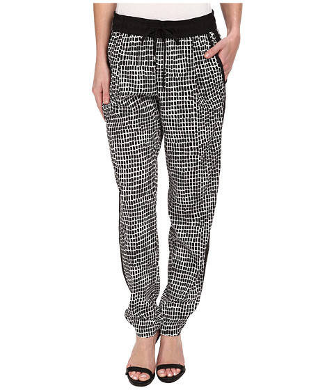 Calvin Klein - Print Tapered Woven Pant (Black Trellis) Women's Clothing