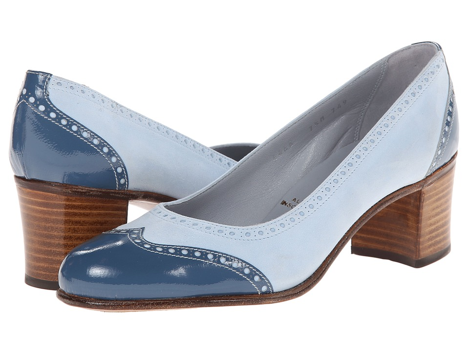 Gravati - Calf Leather Chunky Heel Wing Tip (Light Blue) Women's Lace Up Wing Tip Shoes