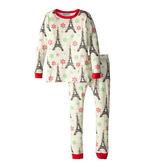 BedHead Kids - Snug Fit Long Sleeve Classic PJ (Toddler/Little Kids) (Ivory X-Mas Eiffel) Girl