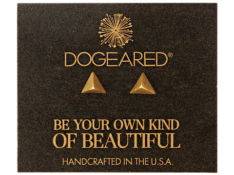 Dogeared - Dare To Pyramid Spike Stud Earrings (Gold Dipped) Earring
