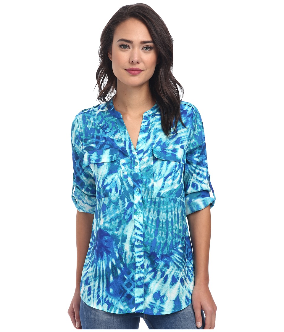 Calvin Klein - Print Crew Neck Roll Sleeve Blouse (Sea Glass Multi) Women