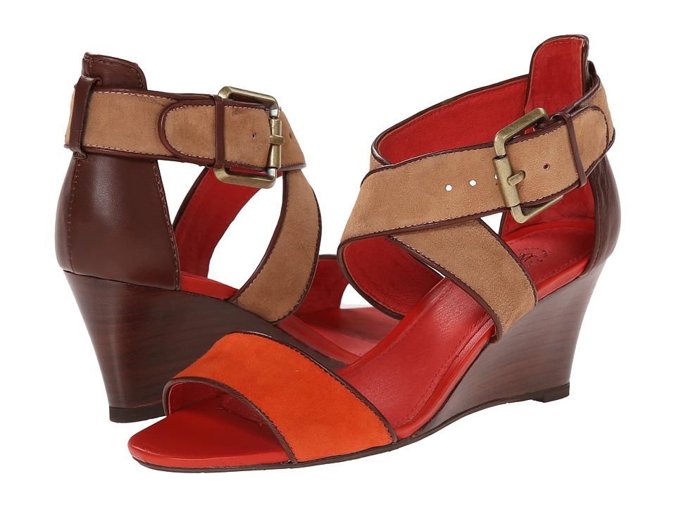 Johnston & Murphy - Marlena Cross Ankle (Firebird Orange/Camel Kid Suede) Women's Shoes