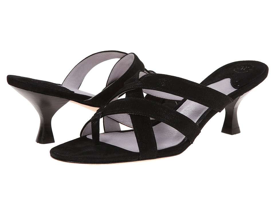 Johnston & Murphy - Katy Thong (Black Shimmer Suede) Women's Shoes