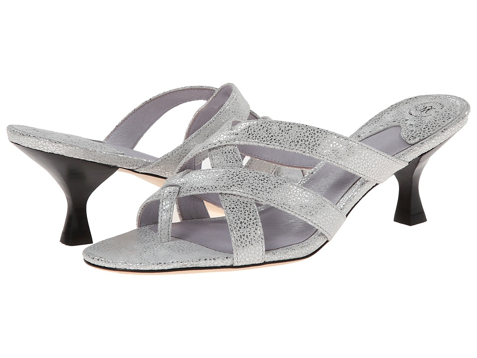 Johnston & Murphy - Katy Thong (Silver Metallic Print Suede) Women's Shoes
