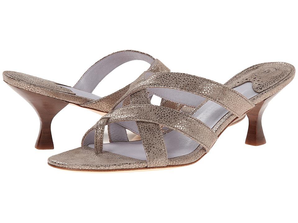 Johnston & Murphy - Katy Thong (Champagne Metallic Print Suede) Women's Shoes