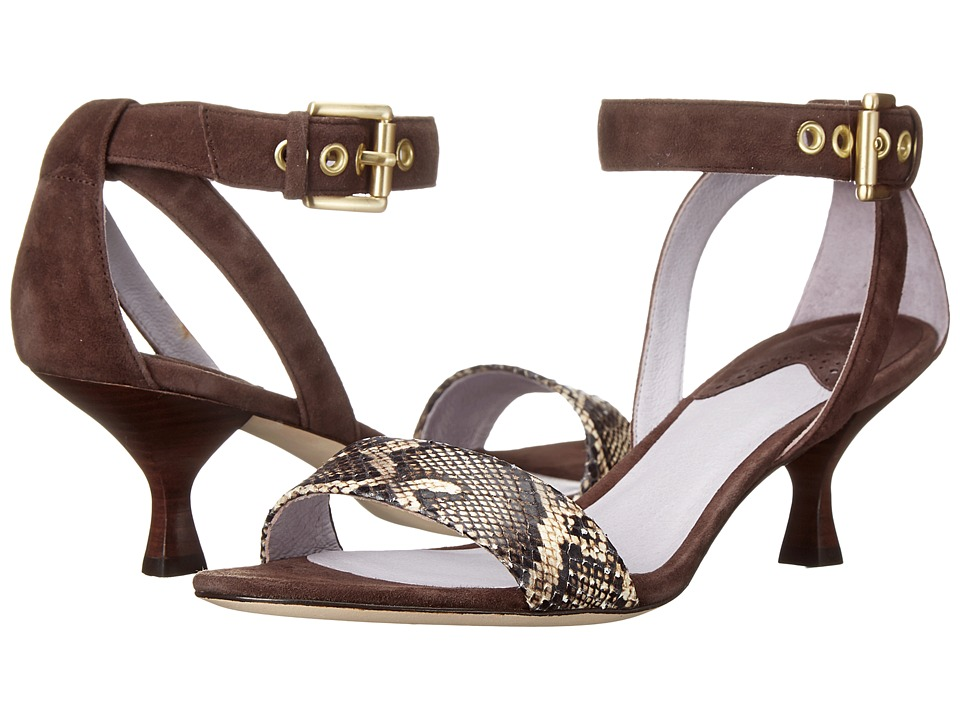 Johnston & Murphy - Katy Ankle Strap (Brown Kid Suede/Brown Natural Snake Print) Women's Shoes