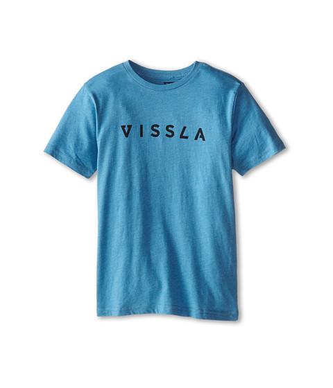 VISSLA Kids - Foundation S/S Tee (Big Kids) (Blue Wash Heather) Boy's Short Sleeve Pullover