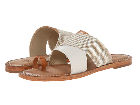 Johnston & Murphy - Patti Crossover Thong (White Glove Leather/Natural Calfskin) Women's Shoes