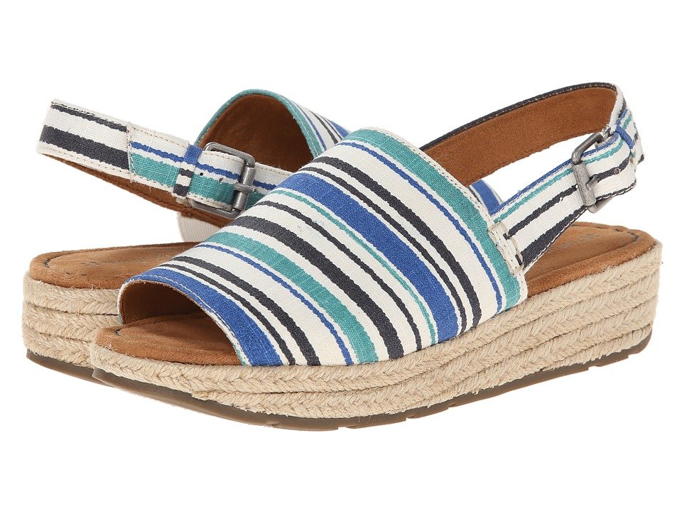 Naturalizer - Praline (White Blurred Stripe Linen) Women's Sandals