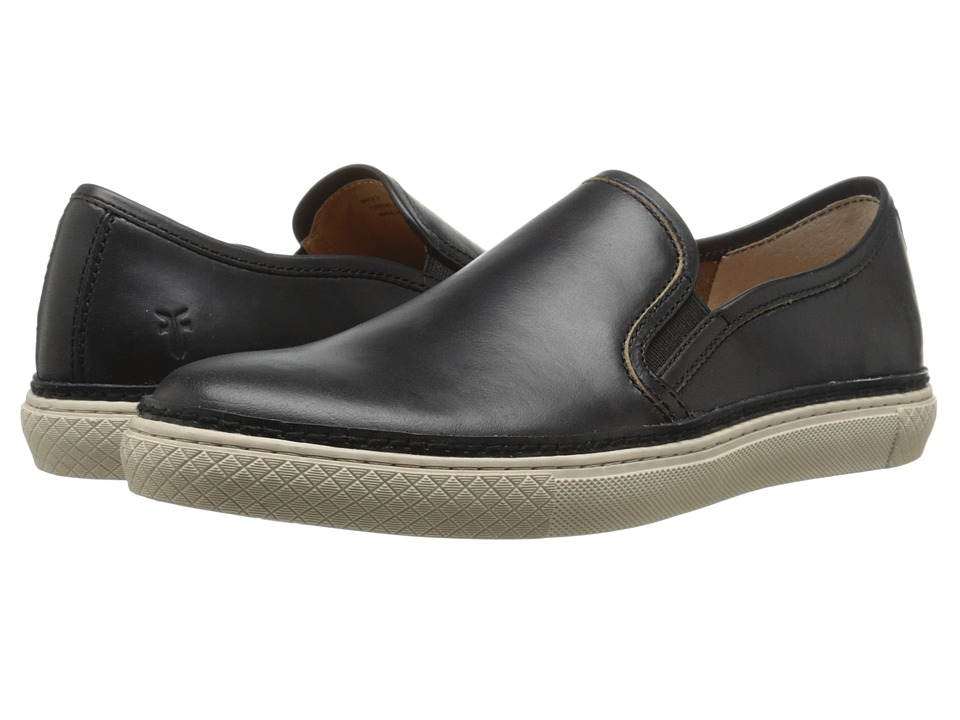 Frye - Gates Slip-On (Black Smooth Pull Up Leather) Men's Slip on Shoes