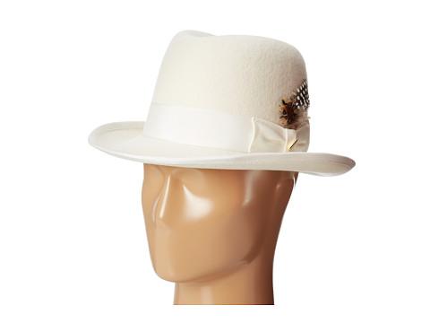 Stacy Adams - Homburg Wool Felt Hat w/ Grograin Band (Ivory) Caps