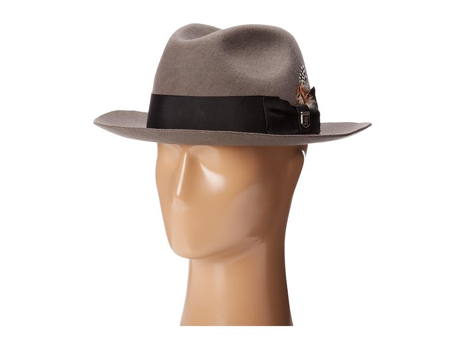 Stacy Adams - Wool Felt Fedora w/ Grosgrain Band (Grey) Fedora Hats