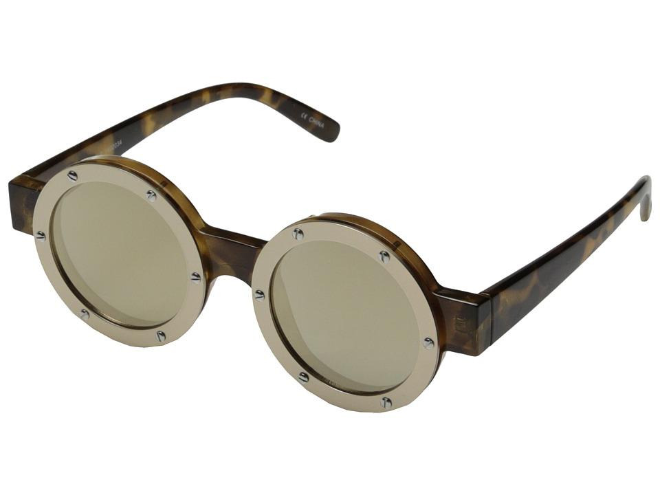 Le Specs - Porthole (Tort/Brushed Light Gold/Gold Revo Mirror) Fashion Sunglasses