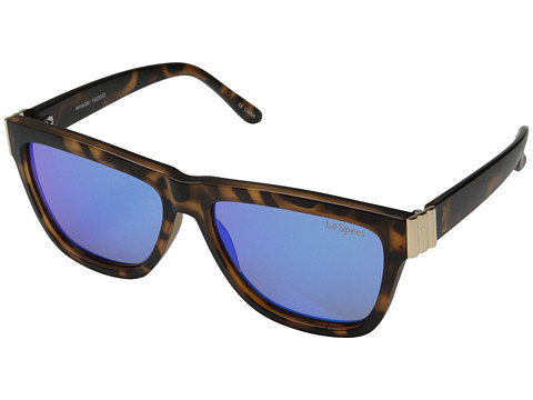 Le Specs - Whaam! (Matte Tort/Light Gold Metal/Blue Revo Mirror Lens) Fashion Sunglasses