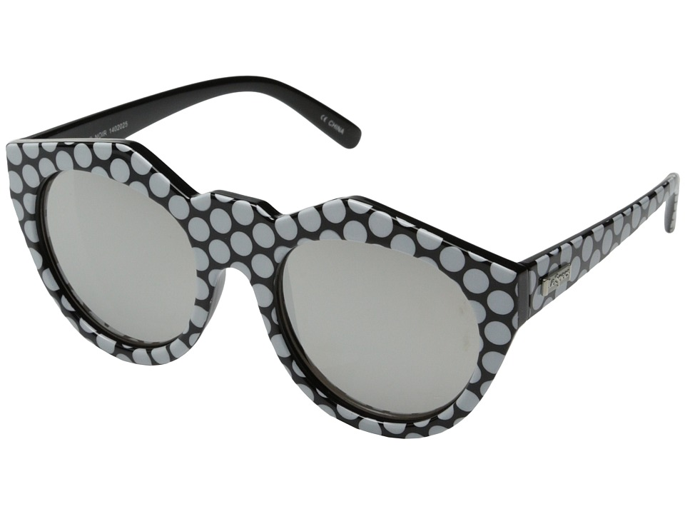 Le Specs - Neo Noir (Black/White Spot/Silver Revo Mirror Lens) Fashion Sunglasses