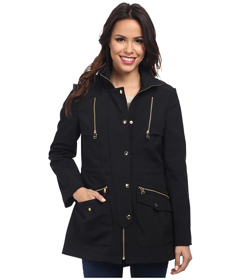 Via Spiga - Active Anorak w/ Hood Gold Hardware Coat (Black) Women
