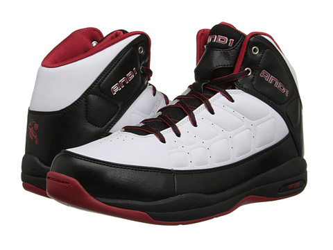 AND1 - Coach Mid (White/Black/Varsity Red) Men