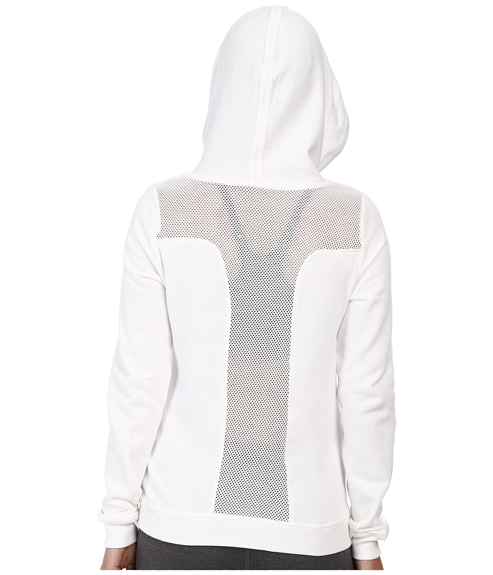 Trina Turk - French Terry Mesh Back Zip Hoodie (White) Women's Sweatshirt