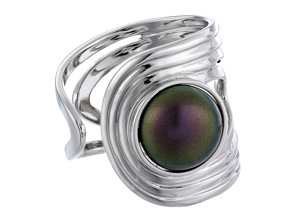 Majorica - 10mm Cuff Ring (Silver/Tahitian) Ring