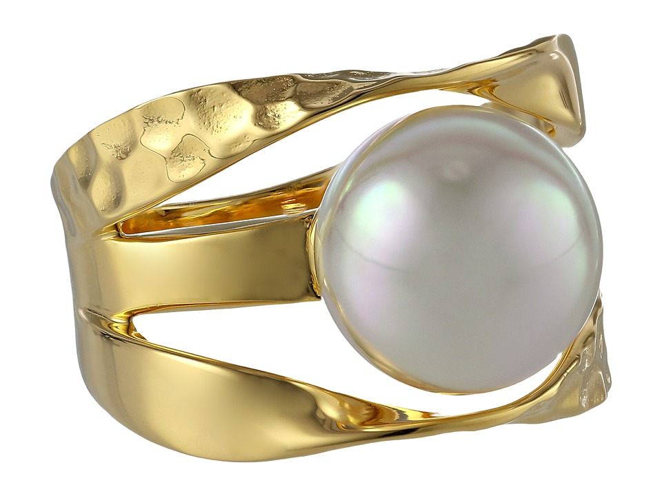 Majorica - Ribbon 12mm RD Ring (Gold/White) Ring