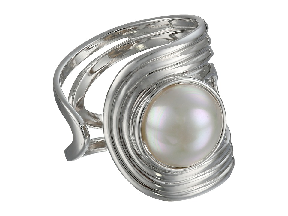Majorica - 10mm Cuff Ring (Silver/White) Ring