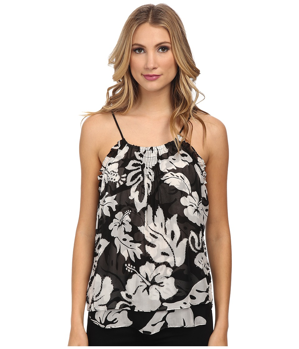 Hale Bob - Palm Play Tank (Black/White) Women's Sleeveless