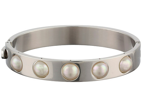 Majorica - 7mm Round Pearl Bangle Bracelet (Silver/White) Bracelet