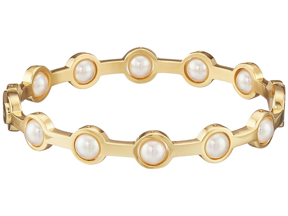 Majorica - 5mm Round Notch Bangle Bracelet (Gold/White) Bracelet