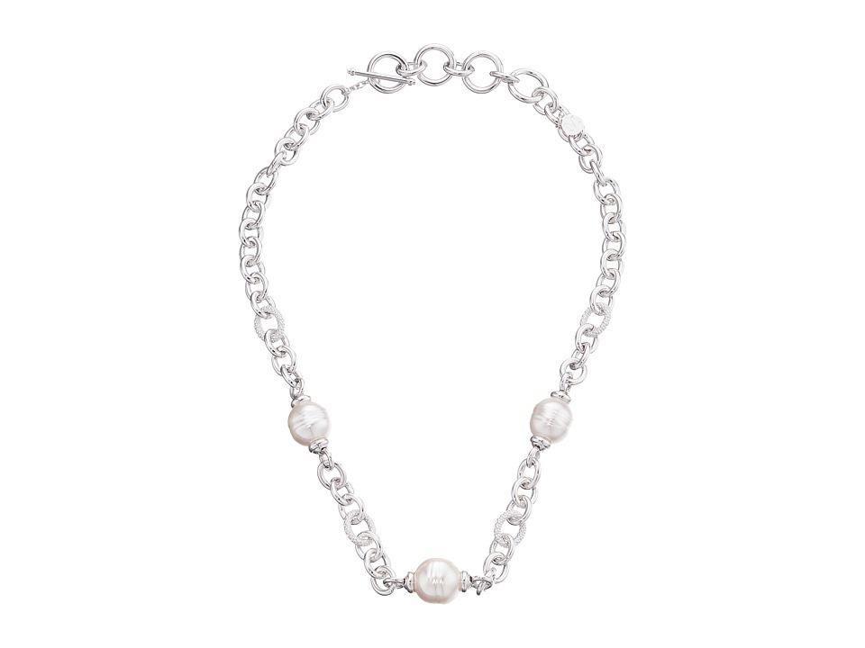Majorica - 14/16mm Baroque Chain Necklace (Silver/White) Necklace