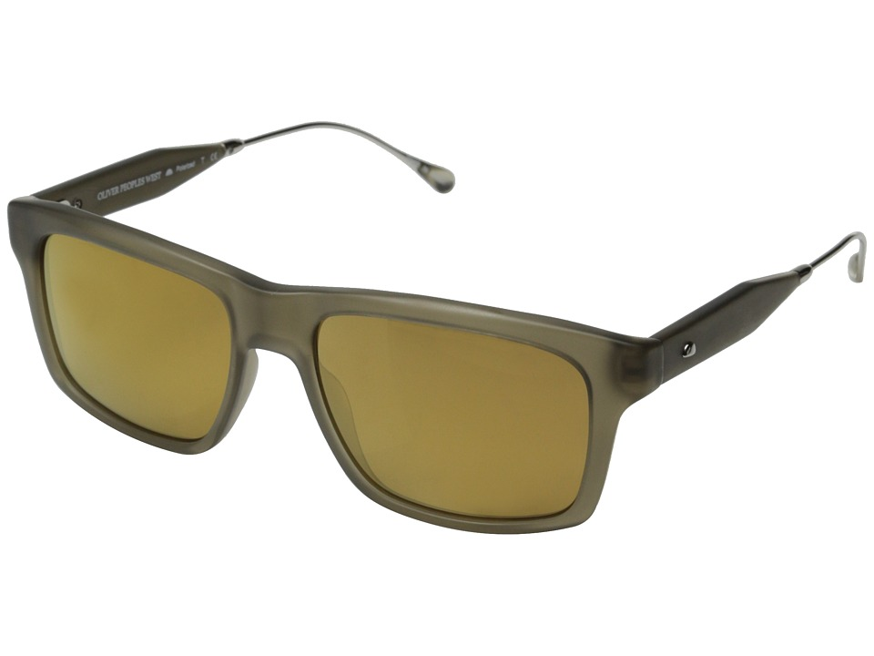 Oliver Peoples West - Gaviota (Semi Matte Green Khaki/California Gold Mirror Polarized) Fashion Sunglasses