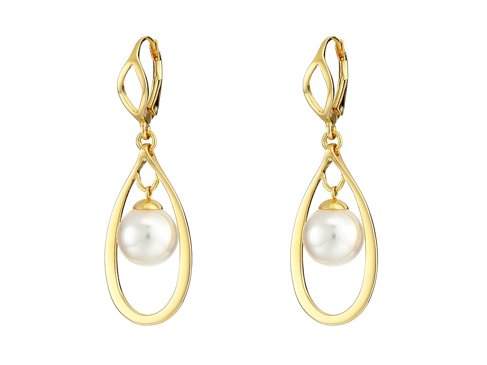 Majorica - 10mm Round Drop in Link Earrings (White) Earring