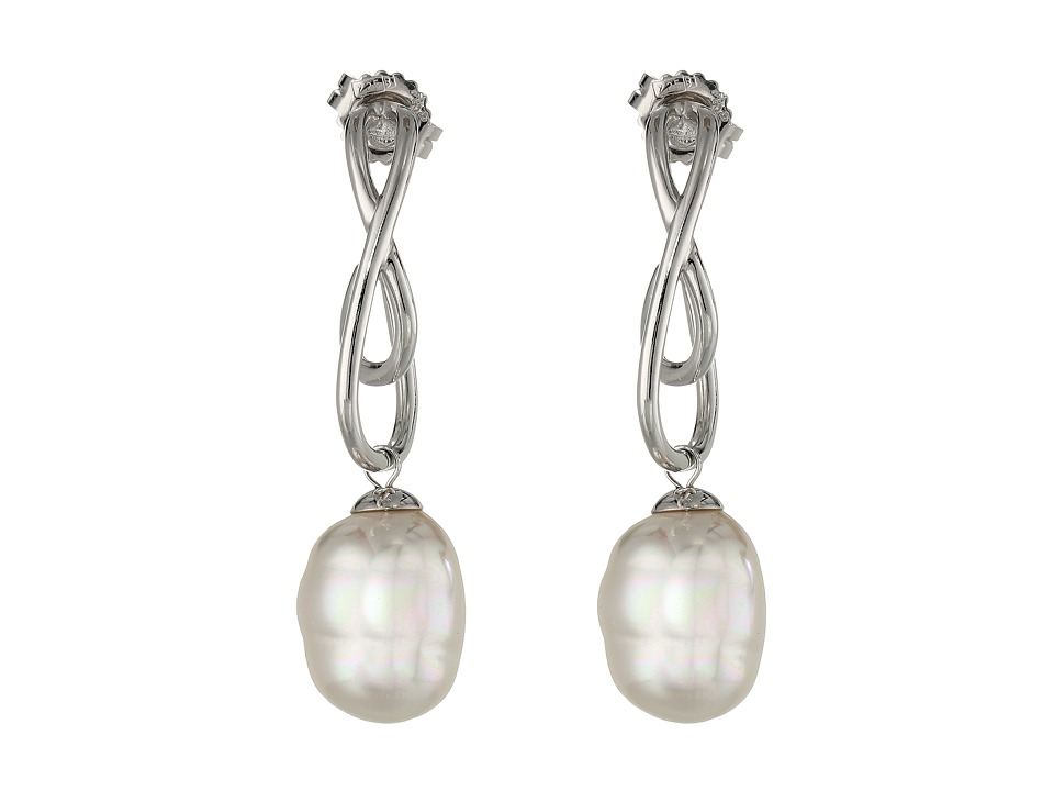 Majorica - 12mm Baroque SS Twist Earrings (White 1) Earring