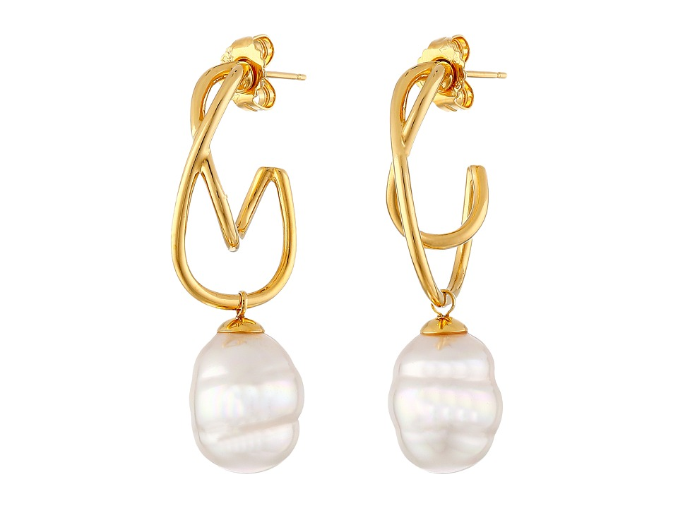 Majorica - 12mm Baroque SS Twist Earrings (White) Earring