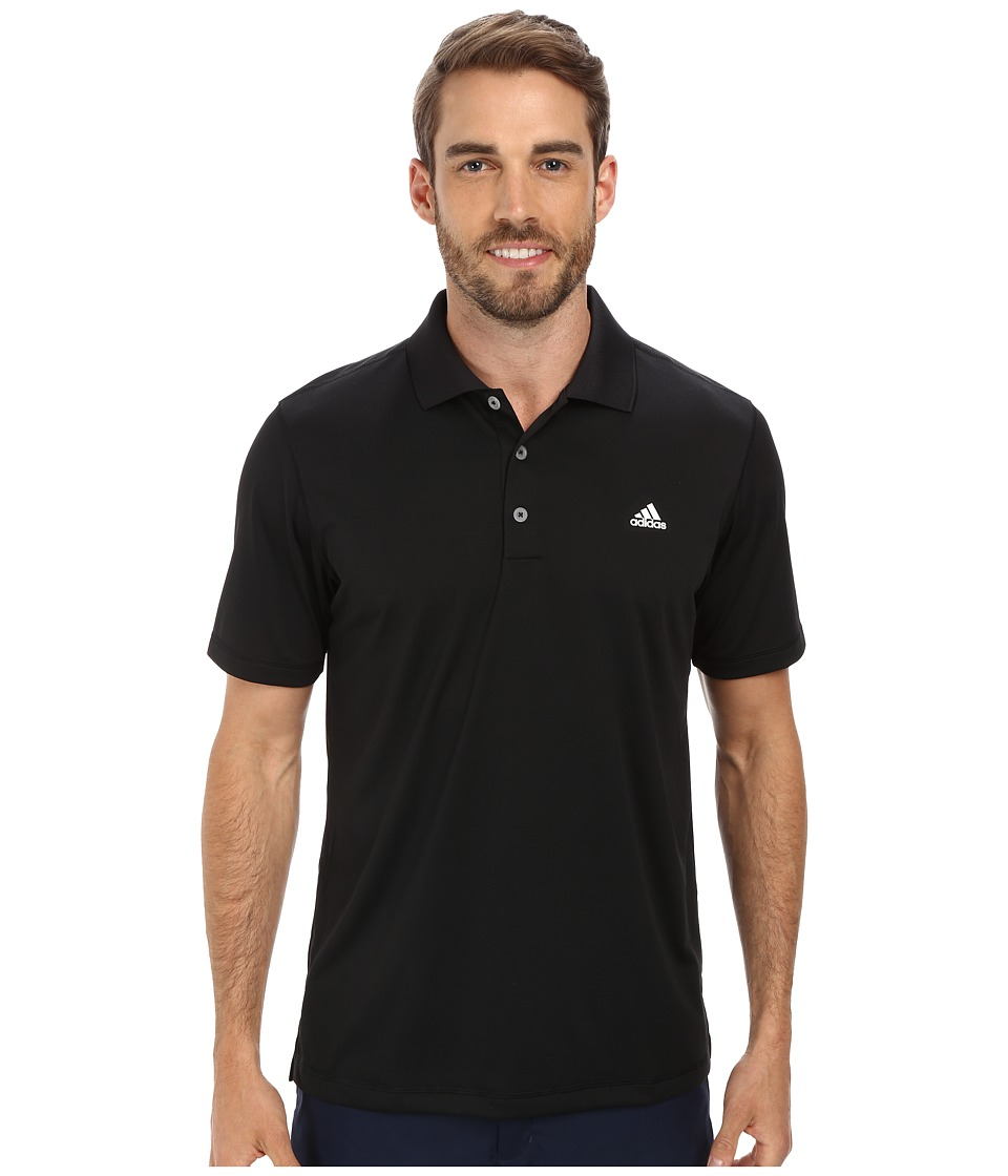 adidas Golf - Solid Jersey Polo w/ Front Logo (Black/White) Men's Short Sleeve Knit