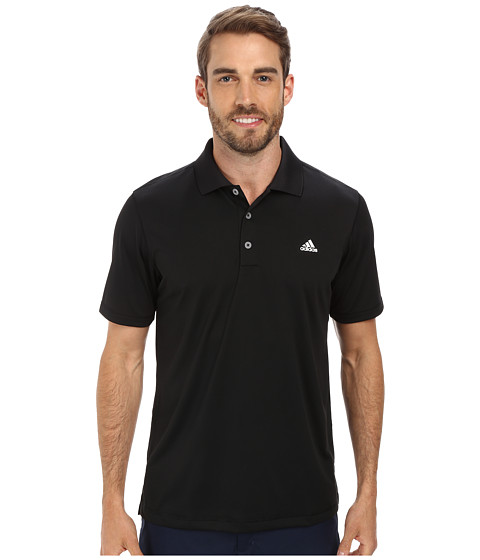 adidas Golf - Solid Jersey Polo w/ Front Logo (Black/White) Men
