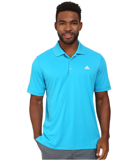 adidas Golf - Solid Jersey Polo w/ Front Logo (Solar Blue/White) Men