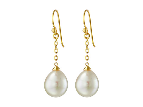 Majorica - 10mm FW Pearl Gold Chain Earrings (White) Earring