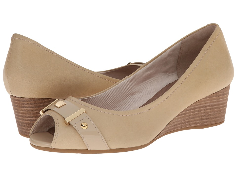 Rockport - Total Motion 45mm Peep Wedge (Nude Napa Patent) Women